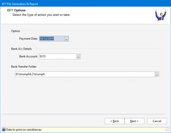 Triumph ERP Eft file generation and report screenshot 718x561