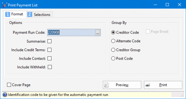 how to process an automatic payment run in Triumph screenshot 5 607x323