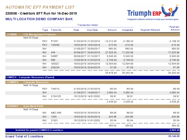 how to process an automatic payment run in Triumph screenshot 7 798x597