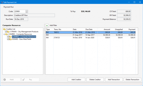 how to process an automatic payment run in Triumph 1019x617