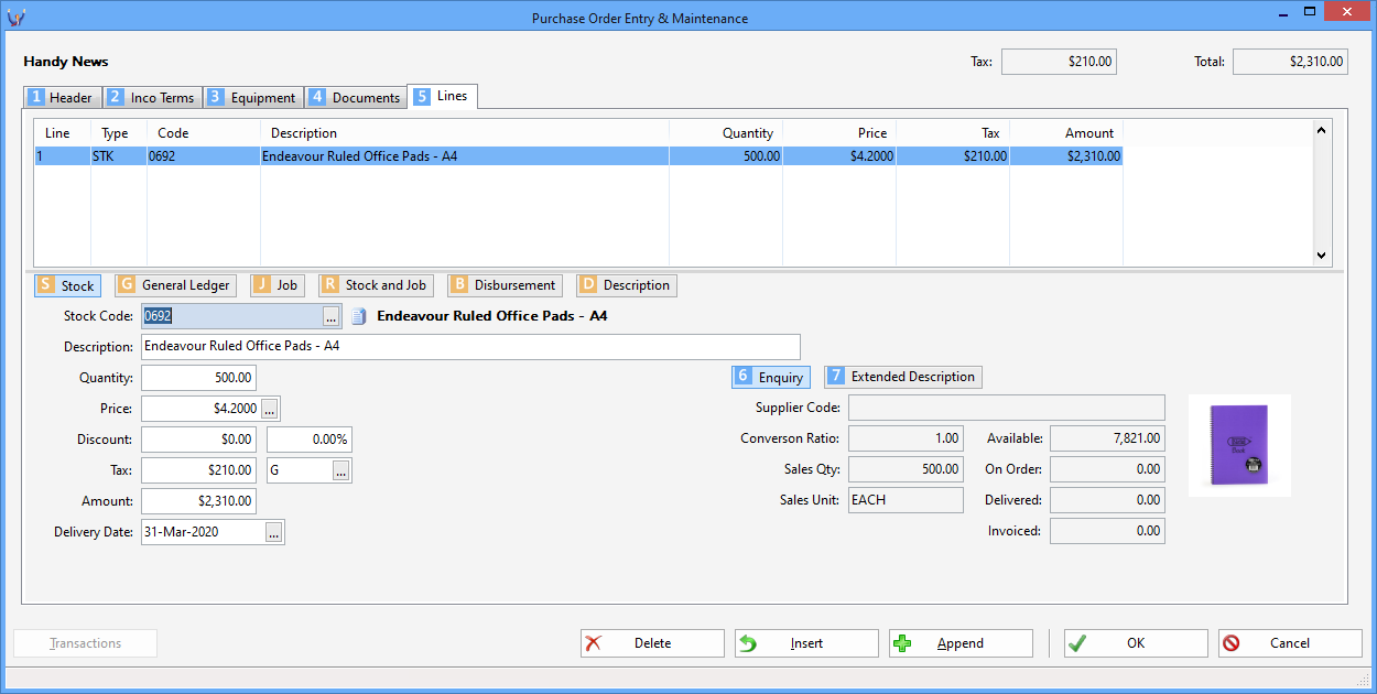Triumph ERP purchase order entry and maintenance screenshot 2 1250x630