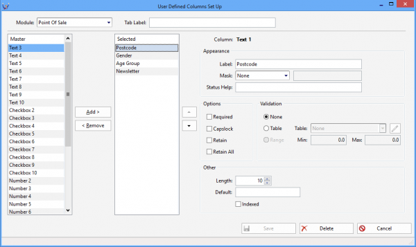 add user defined columns to the pos transaction lookup
