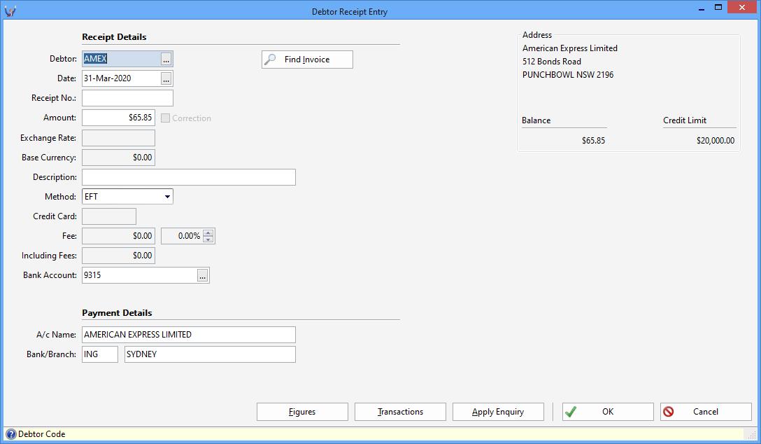 Triumph ERP debtor receipt entry screenshot 1088x634
