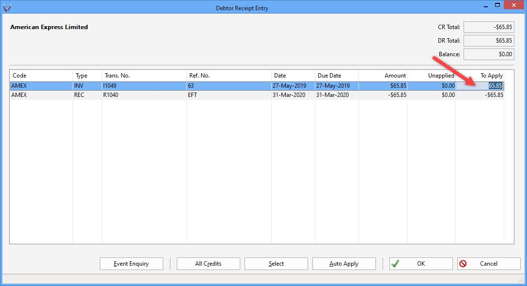 Triumph ERP debtor wide transaction search screenshot 1088x590