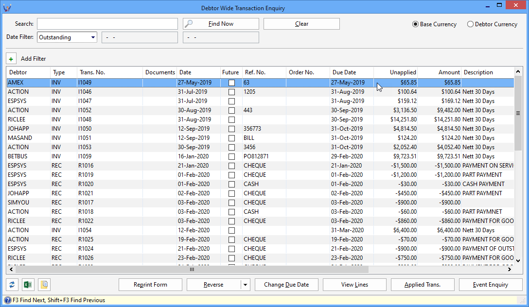 Triumph ERP debtor wide transaction search screenshot 1088x632