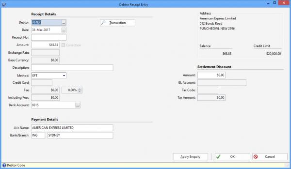 Triumph ERP debtor wide transaction search screenshot3