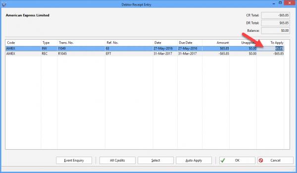 Triumph ERP debtor wide transaction search screenshot 4