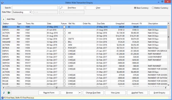 Triumph ERP debtor wide transaction search screenshot 5