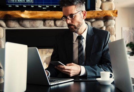 businessman in suit working at computer