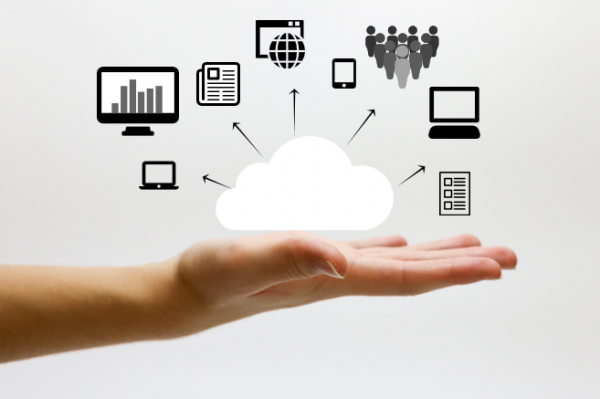 hand with erp cloud