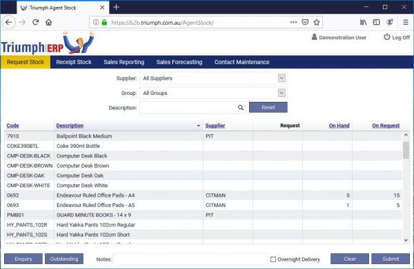 Triumph ERP Agent consignment stock screenshot 1004x655
