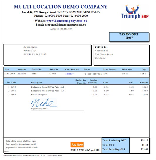Triumph ERP proof of delivery invoice sample 532x544