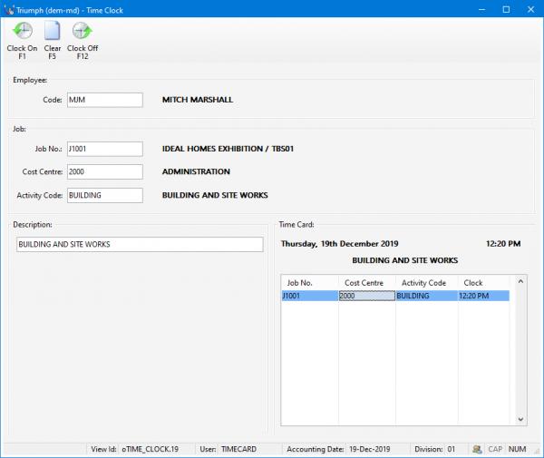 Triumph ERP time clock screenshot 876x738