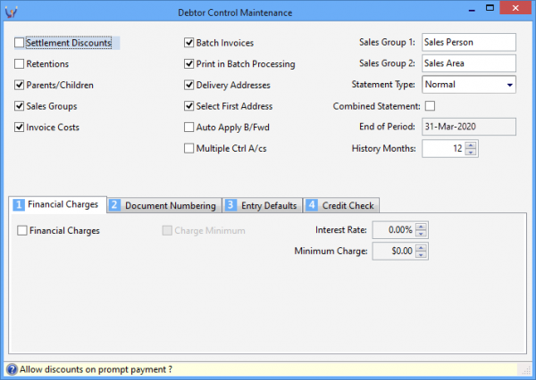 Triumph ERP debtor control maintenance screenshot 710x504