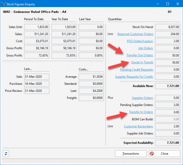 Triumph ERP stock figures enquiry screenshot image 728x654