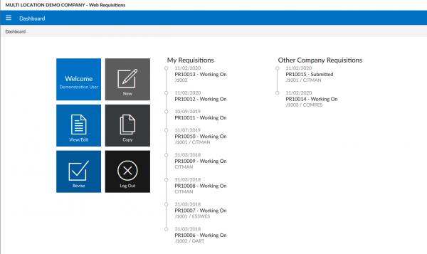 Triumph ERP Web Requisitions screenshot sample 1280x761