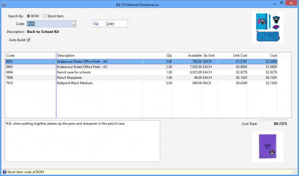 Triumph ERP bill of material maintenance screenshot sample 1055x621