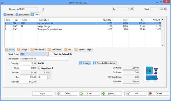 Debtor Invoice Entry screenshot ACTION