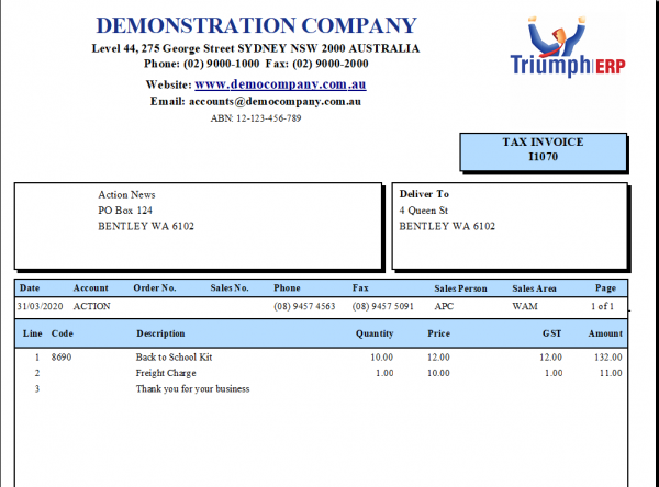 Debtor Tax Invoice Form sample I1070