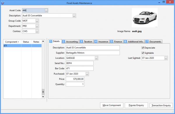 Fixed Assets Maintenance screenshot