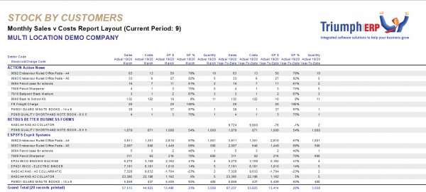 Sales Analysis monthly sales v costs report layout screenshot sample for business